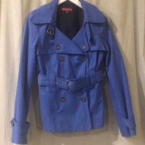 Merona short blue trench coat